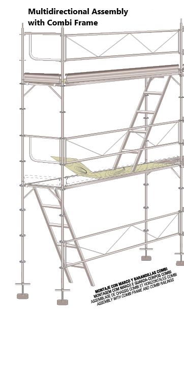 Multidirectional combi scaffold assembly